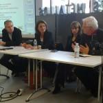 Lors de la 1ere journée de la presse en ligne (2010): Philippe Couve, Soizic Bouju, Alice Antheaume, Marc Mentré